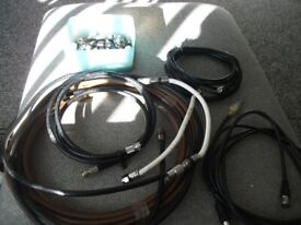 ASSORTMENT OF TV LEADS / SOCKETS ELECTRICAL WIRING / PLUGS ETC
