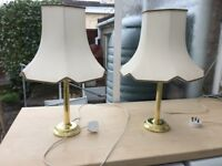 2 brass table lamps with pale green shades