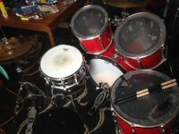 Premier drum kit with Sabian Pro, Zildjian symbols and Yamaha studio snare.