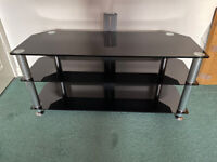TV Stand, black glass with chrome legs and cable management