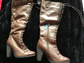 New Brown leather knee high laced boots size 4 from Next