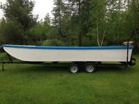 Boat Scow 23ft with trailer and Winch - Bateau Pêche Aquaculture