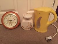 Kenwood kettle with marks and spencer clock and storage pot