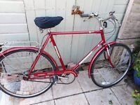 mans vintage red rivera sport 22 inch frame bike with lock
