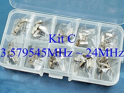 Quartz Kit C 50 Pcs 10 Values 3.579545mhz 24mhz Crystal Resonator Hc-49us