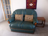SMALL LEATHER SOFA AND ARMCHAIR