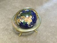 Large gold plated gemstone globe