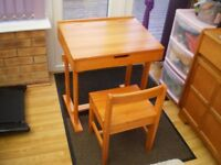 kids desk and chair solid wood used condition
