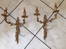 Harrods wall lights x 2, solid brass and gilt, very heavy, NEW
