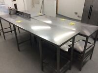 Stainless steel tables (£100-£150 each)