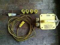 110v heavy duty site power transformer 2kva 2 sockets, extension cable and plug tops.