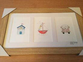 Charming 'Seaside' Watercolour / Pencil Pictures