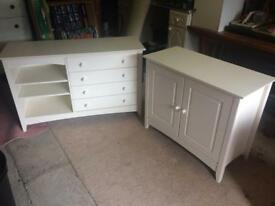 Bedroom chest of drawers and cupboard
