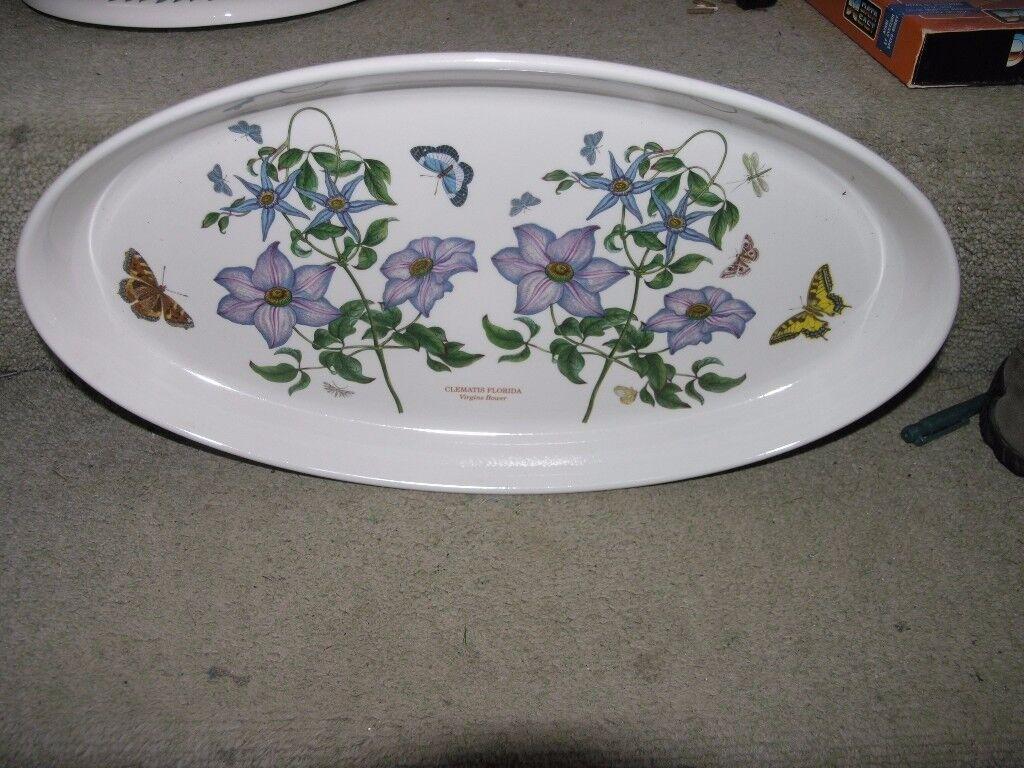 Portmeirion Large Elongated Oval Serving Dish Clematis Florida Virgins Bower