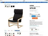 Ikea chair black fabric and footstool white fabric