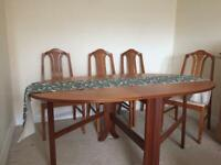 G-plan drop leaf table with 4 chairs