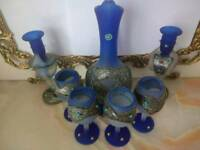 Assorted Persian Style Jug, Four Glasses and Two Candle holders