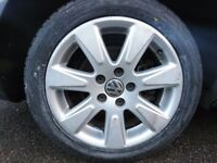 VW alloy wheels with tyres