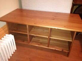 large pine TV cabinet or coffee table can deliver