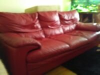 3 seat Red leather sofa plus