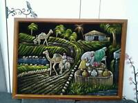 Large eastern / asian painted material wall picture 4 foot x 3 foot unusual