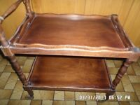 Lovely old wooden breakfast trolley with tray ,in good condition with casters ,