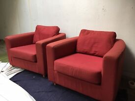 Red HABITAT armchairs