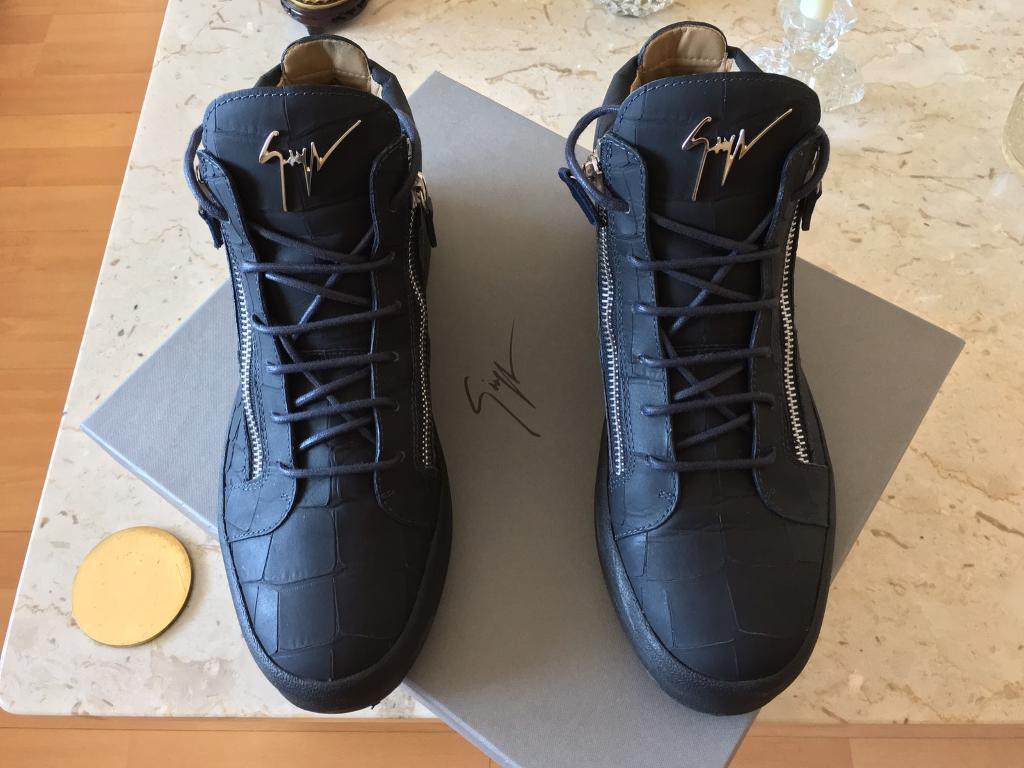 9b72a263ce3 Giuseppe Zanotti - Mid Matte Croc Navy Leather Mens Trainers - Size 44 EU -  UK 10