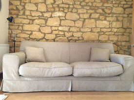 3 seater sofa in neutral, serviceable colour