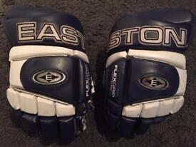 "Easton 14"" ice hockey gloves blue white"