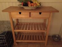 Wooden kitchen bench/ trolley