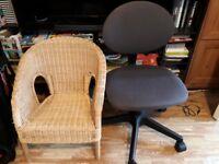 Ikea rattan and swivel children's chairs