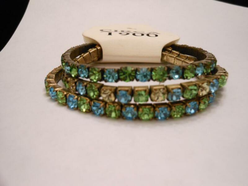 NWT BLUE GREEN YELLOW RHINESTONE EXPANSION 3 BRACELET SET CIRCA 1900 MSRP $15.99