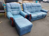Light blue leather 3 seater and chair with footstool
