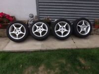 Mazda MX5 Aolly Wheels x 4 with good tyres 15inch