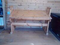 Pine desk - adjustable height and tilt
