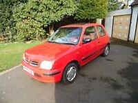 V Reg Red Nissan Micra 1.0 Inspiration Low Miles, 2 lady owners
