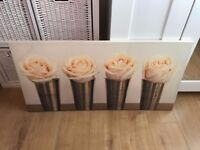 Beautiful Large Roses Floral Flowers Canvas Pictur