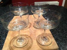 4 Glass Sundae/Dessert/Prawn Cocktail Dishes - Excellent condition - Didsbury area