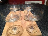 4 Glass Sundae/Dessert/Prawn Cocktail Dishes - Excellent condition - Didsbury area