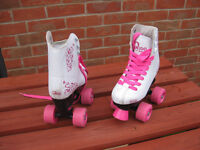 Girls pink 4 wheel roller skate shoes