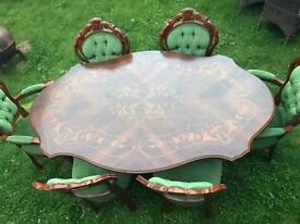 Italian dining table and 6 chairs SOLD