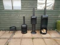 Gas bottle chiminea log burner