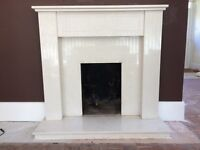 Marble fire surround with back panel and hearth