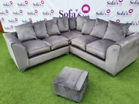EXCLUSIVE LARGE CORNER SOFA IN PLUSH VELVET + FREE MATCHING FOOTSTOOL & CHROME FEET !!