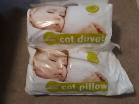 2 Duvet and pillow sets for cot/first bed