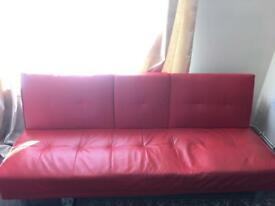 Manhattan Red Faux leather Convertible Sofa
