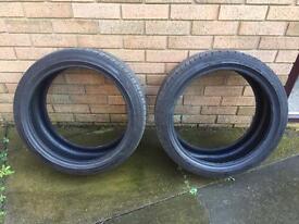 2 x Falken part worn tyres 225/40 18 92W (4mm)