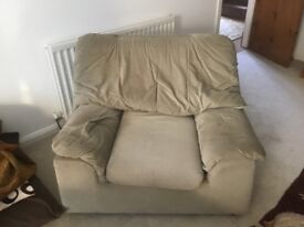 Sofa 2 armchairs good condition......very light sage green