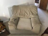 Sofa 2 armchairs good condition......very light sage green